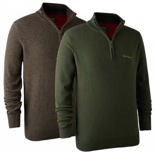 Hastings Knit w. Zip Neck, kolory: 383- Dark Elm + 331-Green